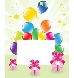 Festive balloons and gift boxes vector