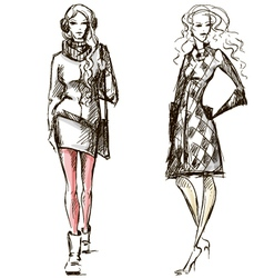 Fashion winter style sketch vector