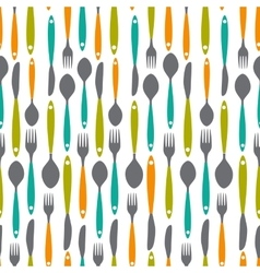 Seamless pattern with forks spoons end knifes vector