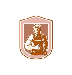 Marathon runner running shield retro vector