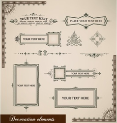 Calligraphic elements vintage set vector