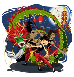 Chinese new year dragon dance vector
