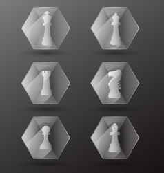 Glass chess piece icons vector
