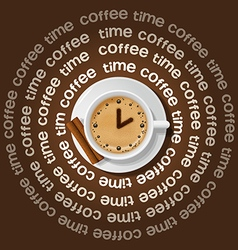 A cup of clock in cappuccino vector