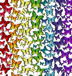 Seamless pattern with rainbow butterflies vector