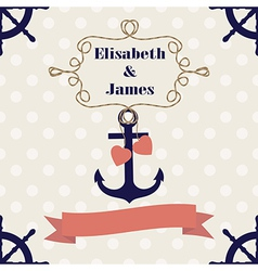 Wedding nautical invitation card with anchor on po vector