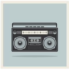 Classic 80s boombox on retro background icon vector