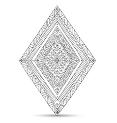 Tribal doddle rhombus isolated on the white vector
