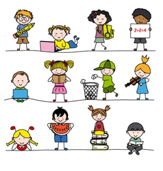 A group of little childrens vector