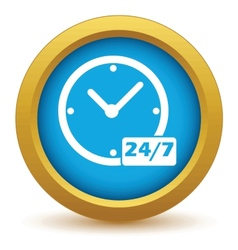 New gold clock icon vector
