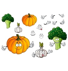 Cartoon pumpkin garlic and broccoli vegetables vector