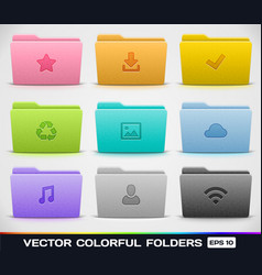 Colorful folder types vector