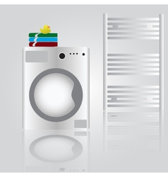 Washing machine in bathroom eps10 vector