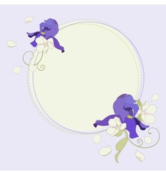 Iris and apple flowers beautiful round frame vector