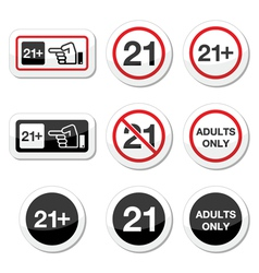 Under 21 adults only warning sign vector