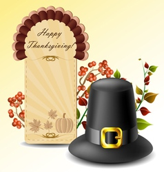 Thanksgiving card and hat with autumn plants vector