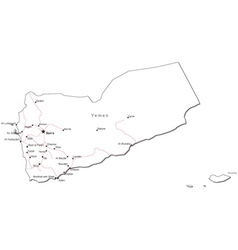 Yemen black white map vector