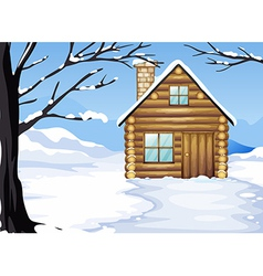 A wooden house in a snowy season vector