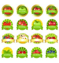 Fruits and vegetables labels set vector
