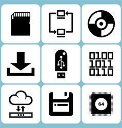 Data icons set vector