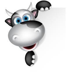 Cute cow cartoon with blank sign vector