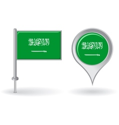 Saudi arabian pin icon and map pointer flag vector