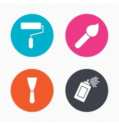 Paint roller brush icon spray can and spatula vector
