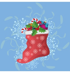 Christmas sock on blue background vector