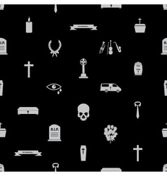 Funeral icons black seamless pattern eps10 vector