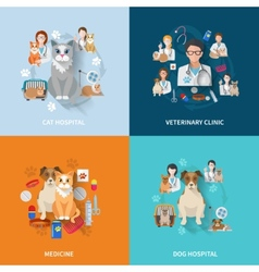 Veterinary flat set vector