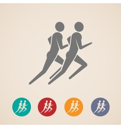 Running or jogging men icons vector