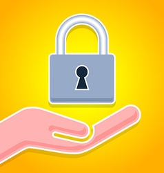 Hand with padlock icon vector