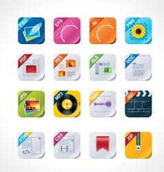 Square file labels icon set vector