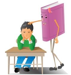 Boy with book vector