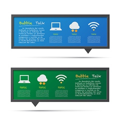 Network icon and 3d bubble talk blackboard vector