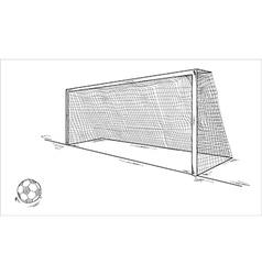 Football ball and goal vector