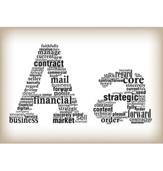 Letter a filled by business words vector