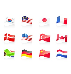 12 country flags icon vector