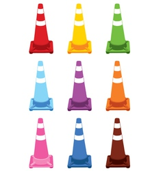 Collection of different color traffic cones vector