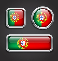 Portugal flag glass buttons vector