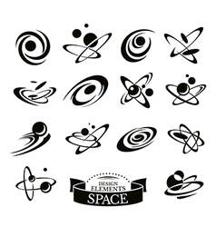 Set of abstract space icons vector