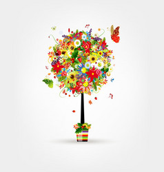 Four seasons concept art tree in pot for your vector