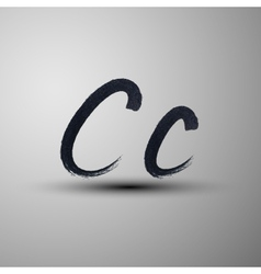 Calligraphic hand-drawn marker or ink letter c vector