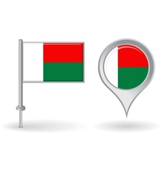 Madagascar pin icon and map pointer flag vector