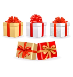 Set of colorful gift boxes with bows vector