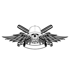 Skull in baseball cap and wings vector