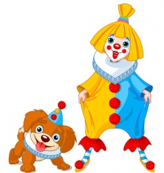 Clown girl and clown dog vector