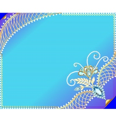 Frame background with precious stones vector