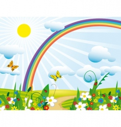 Rainbow over the flowering meadows vector