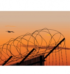 Barbed wire fence vector